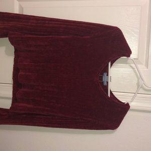 Velvet long sleeve blouse